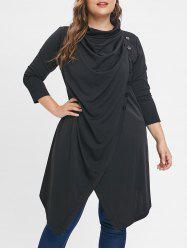 Button Embellished Plus Size Cowl Neck Coat -