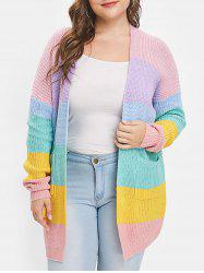 Color Block Drop Shoulder Plus Size Cardigan -