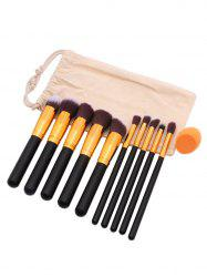 Cosmetic 10Pcs Soft Hair Makeup Brush Set Makeup Sponge with Bag -
