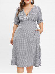 Plus Size Plunge Houndstooth Print Vintage Dress -