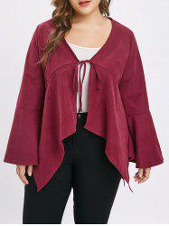 Plus Size Asymmetric Tie Coat with Flare Sleeves -