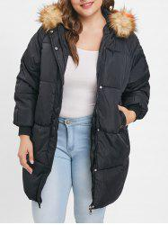 Raglan Sleeve Zip Up Plus Size Coat -
