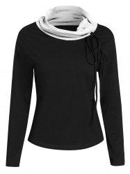 Two Tone Cowl Neck Hoodie -