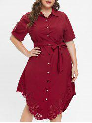 Plus Size Hollow Out Shirt Dress with Belt -