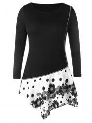 Plus Size Contrast Seam Panel Floral Polka Dot Print T-shirt -