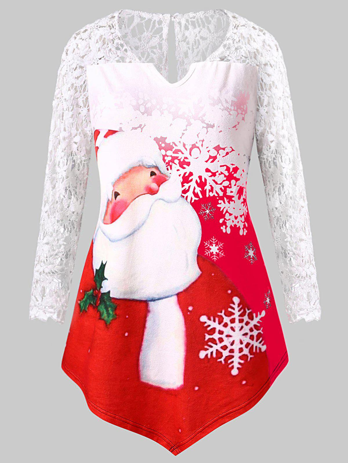 Fashion Plus Size Santa Claus Print Lace Panel Christmas Tee