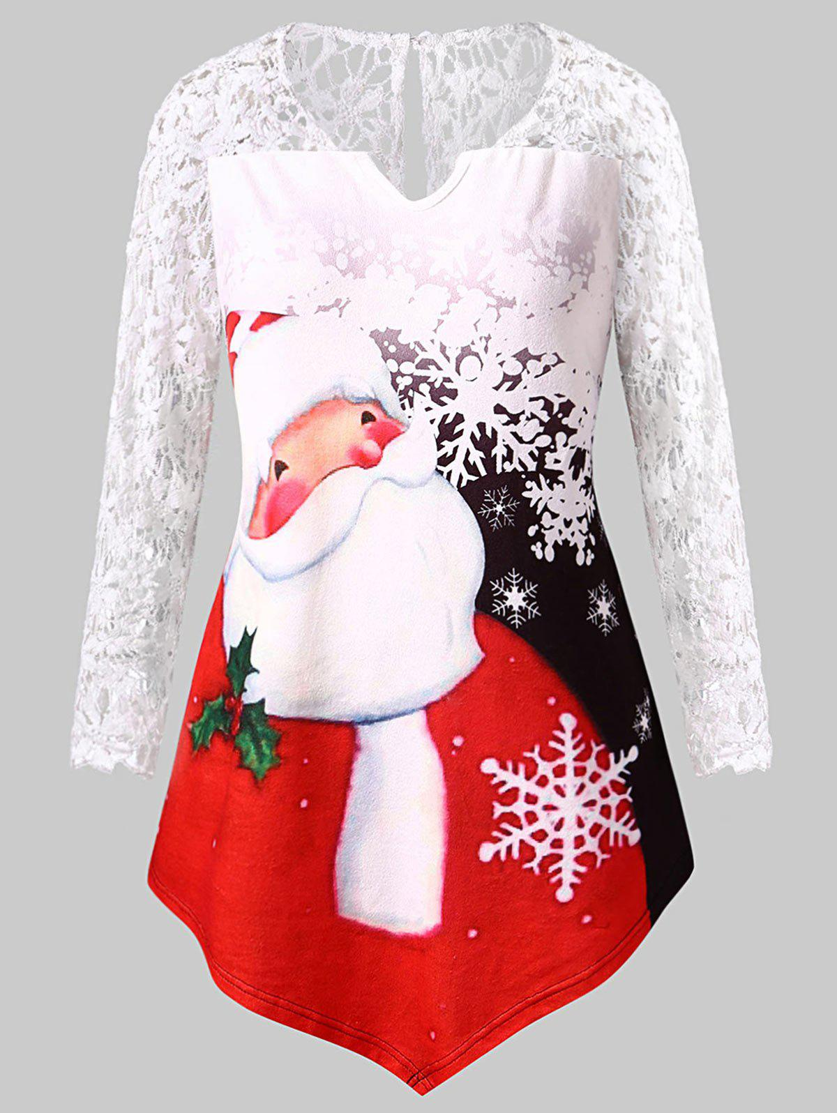 Hot Plus Size Santa Claus Print Lace Panel Christmas Tee