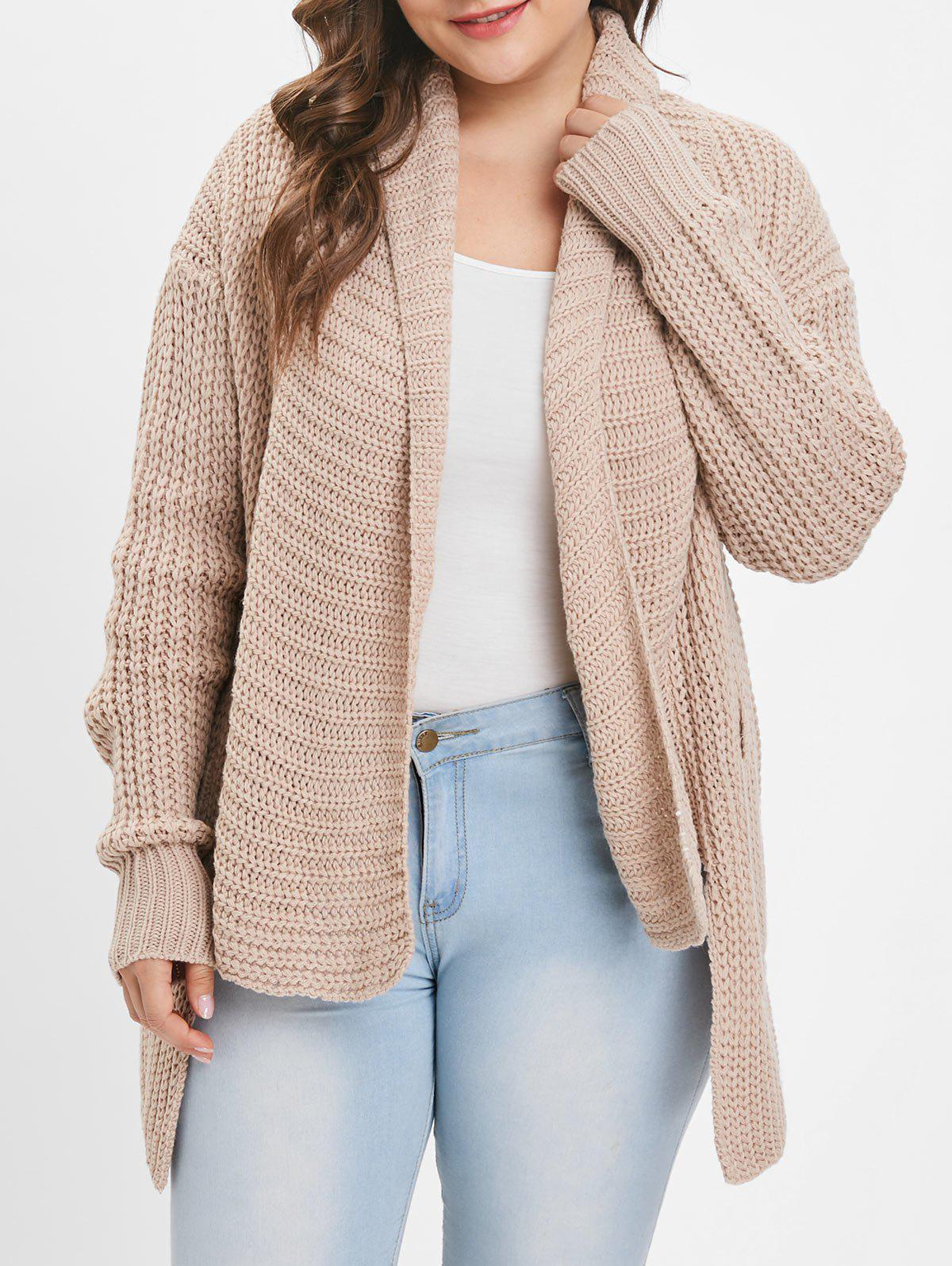 Sale Collarless Plus Size Chunky Cardigan