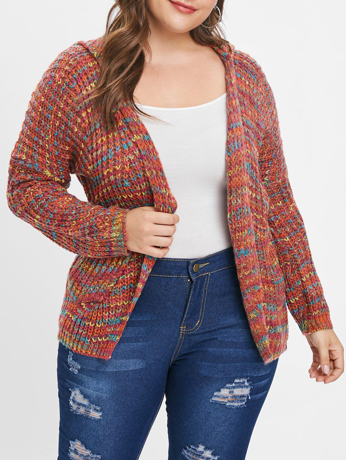 Shop Colorized Open Front Plus Size Hooded Cardigan
