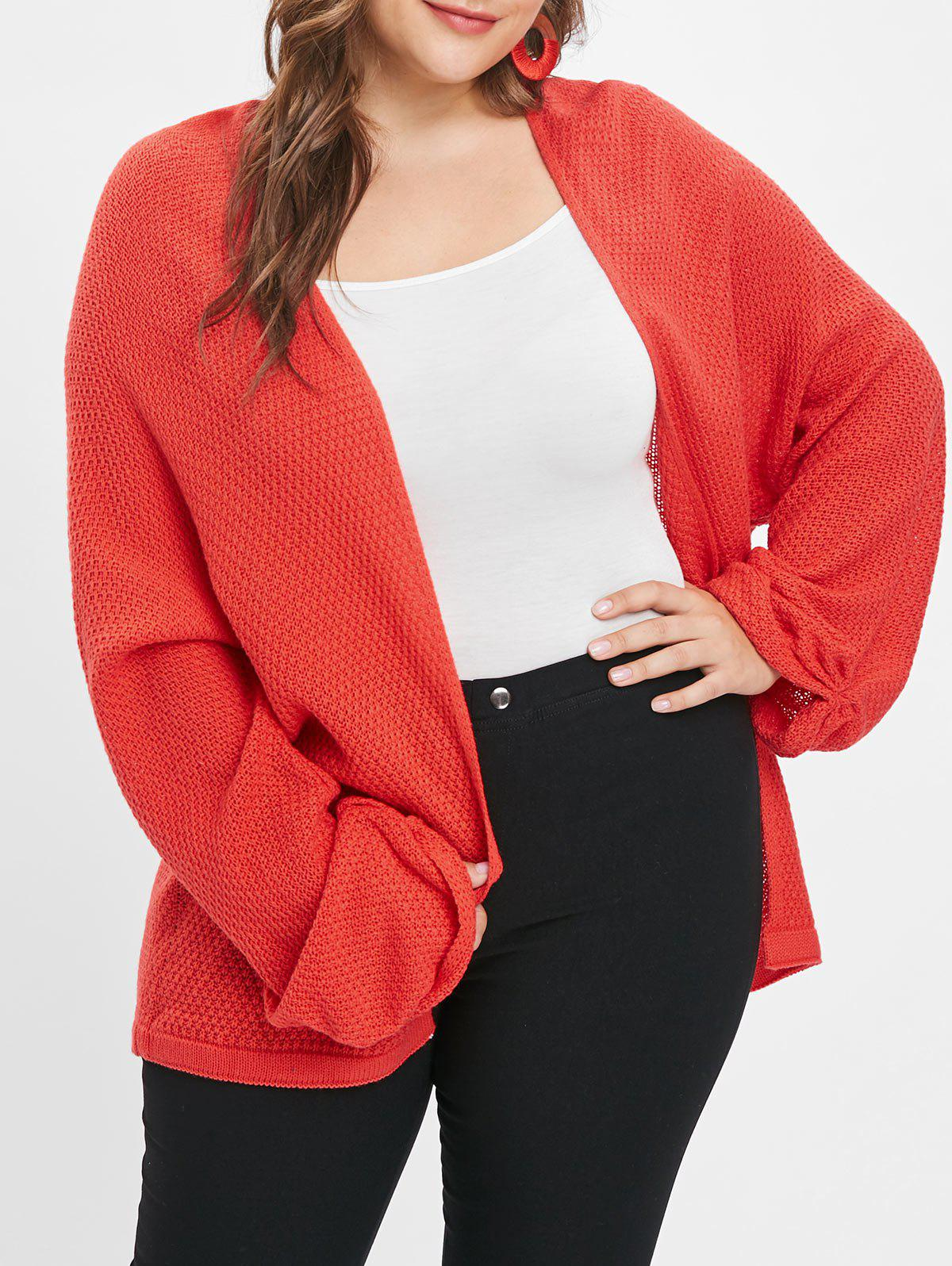 Affordable Open Front Plus Size Tunic Cardigan