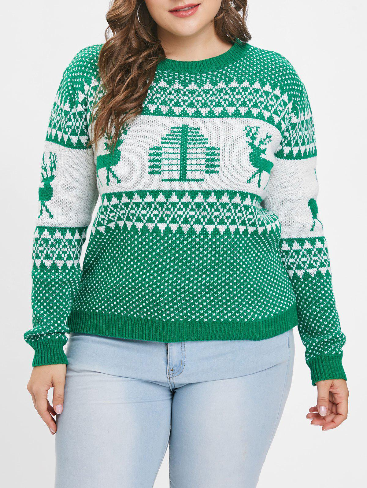Best Plus Size Christmas Elk Print Sweater