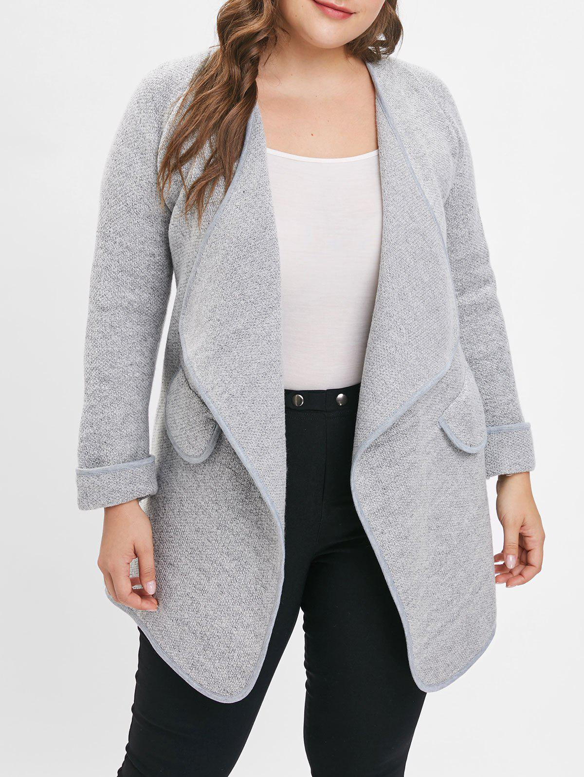 Outfits Turn Down Collar Plus Size Longline Coat