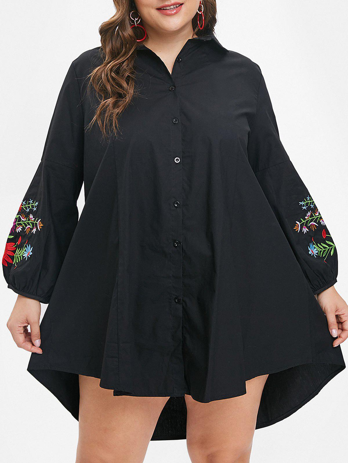 Discount Plus Size High Low Floral Embroidered Shirt Dress