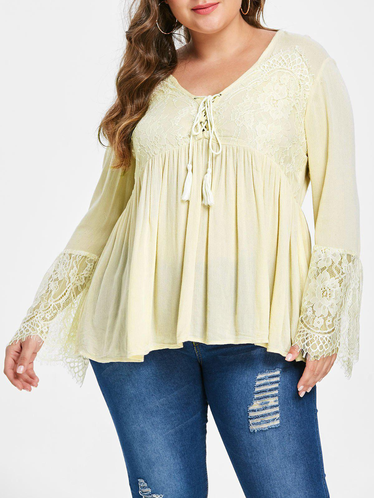 Cheap Lace Panel Lace Up Plus Size Blouse