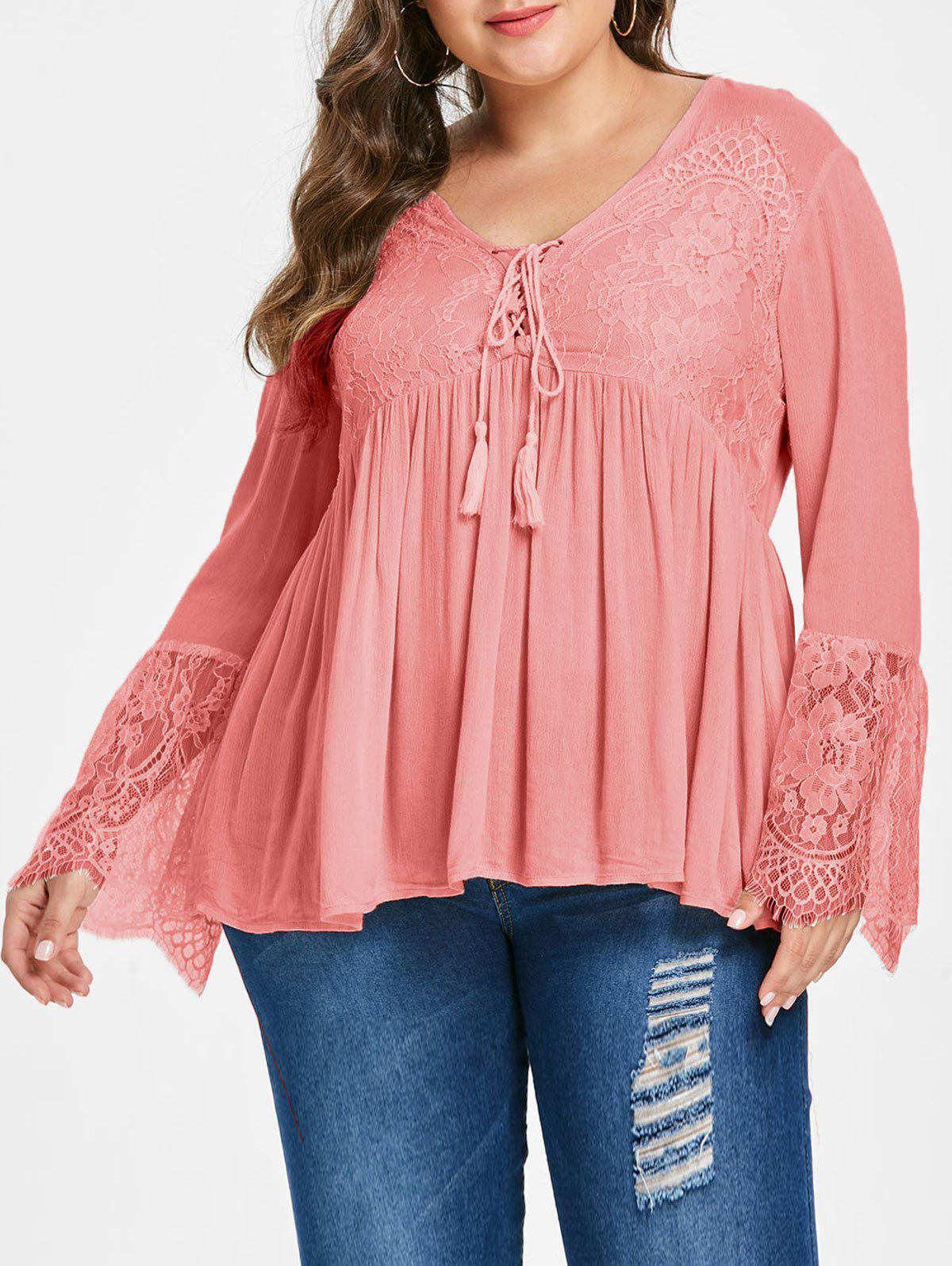 Outfits Lace Panel Lace Up Plus Size Blouse