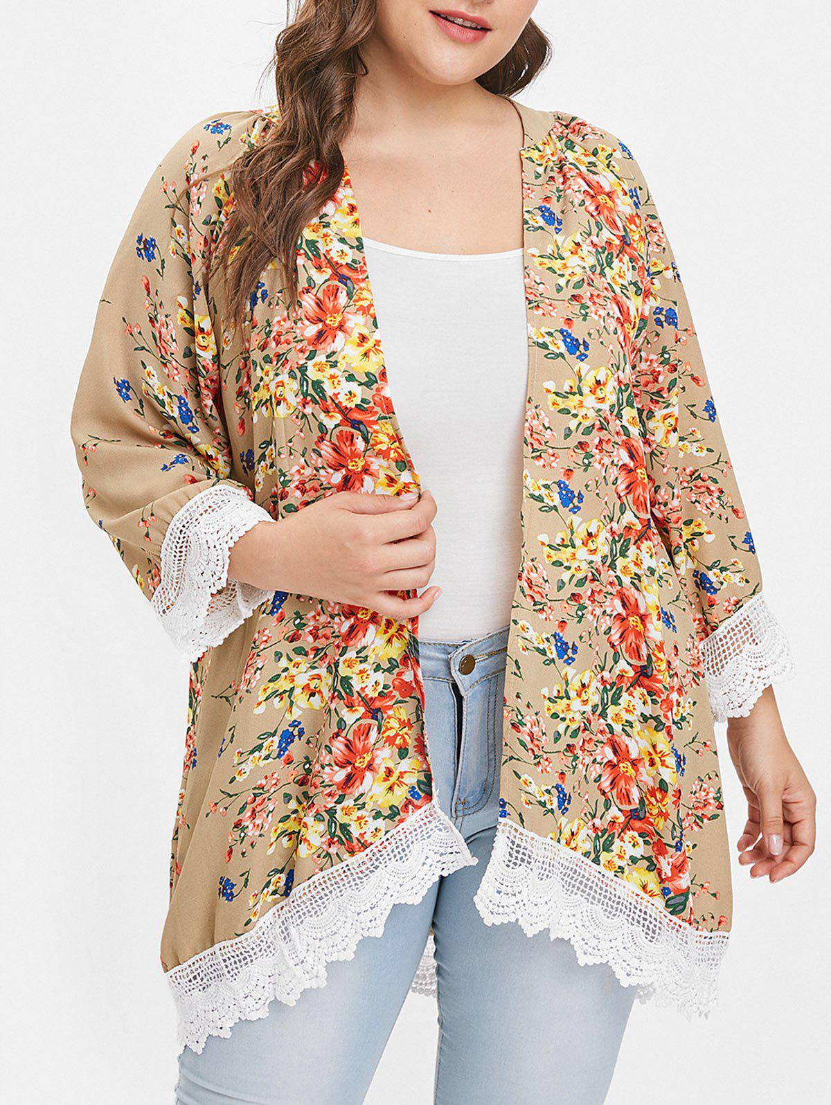 Fashion Plus Size Lace Panel Open Front Floral Coat