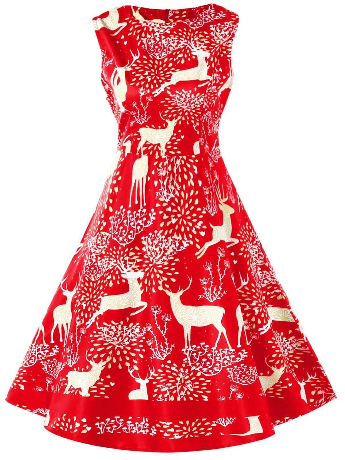 Fancy Vintage Christmas Elk Print Pin Up Dress
