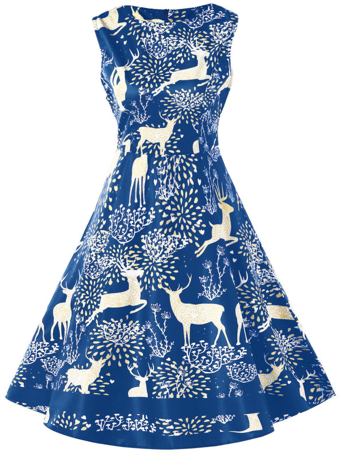 Sale Vintage Christmas Elk Print Pin Up Dress