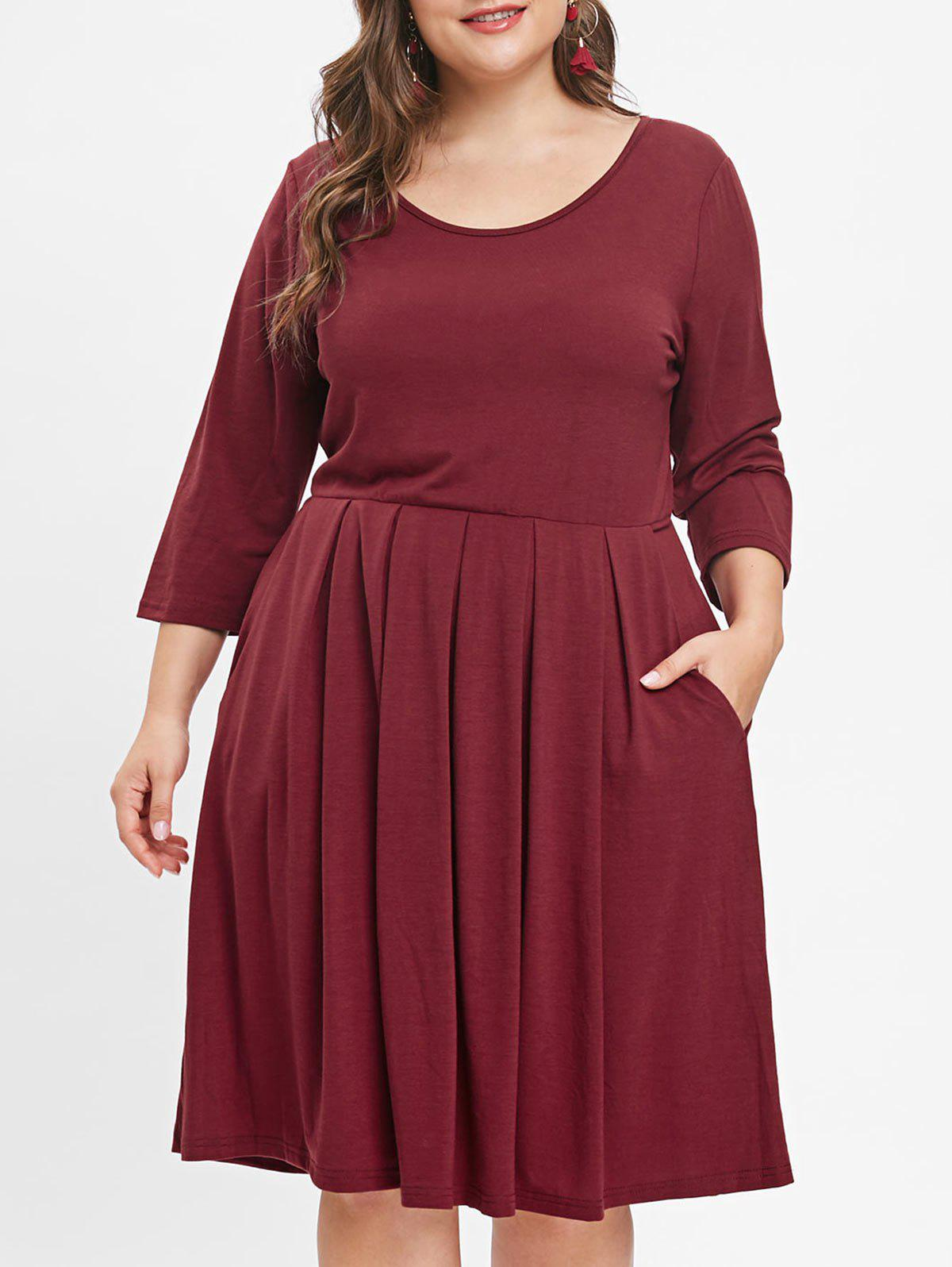 Online Round Neck Plus Size Knee Length Dress