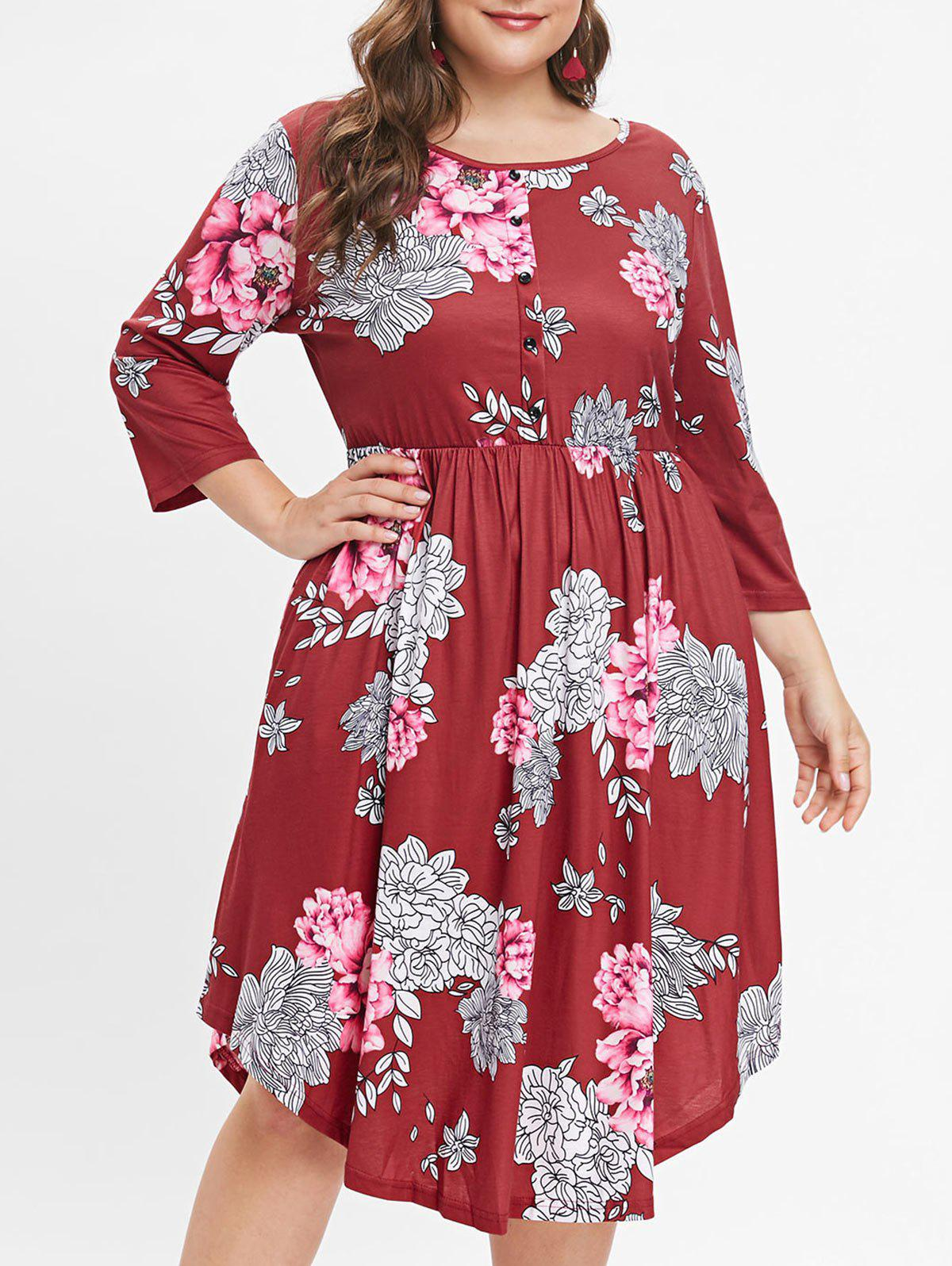 Sale Plus Size Floral Print Button Detail A Line Dress