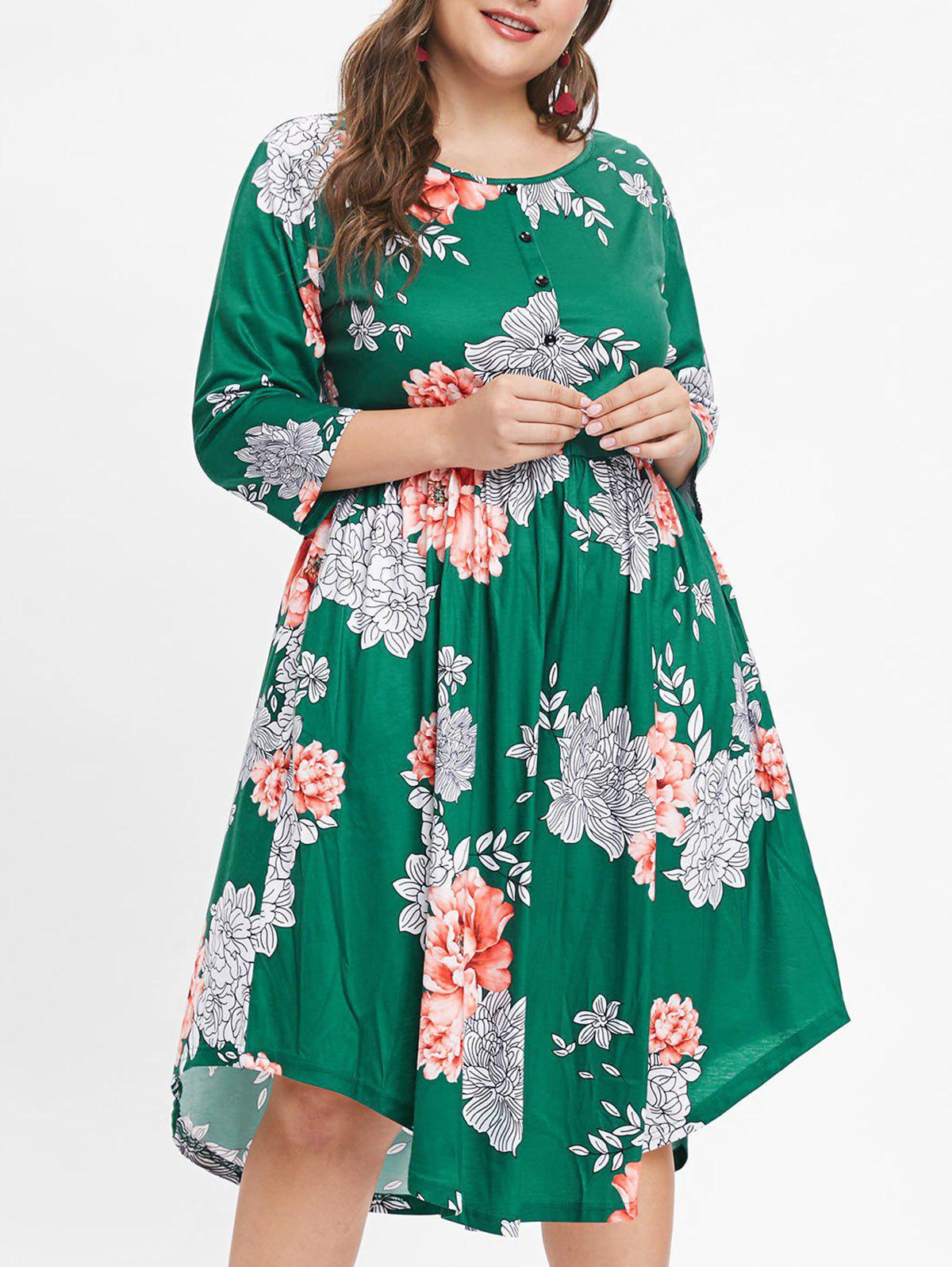New Plus Size Floral Print Button Detail A Line Dress