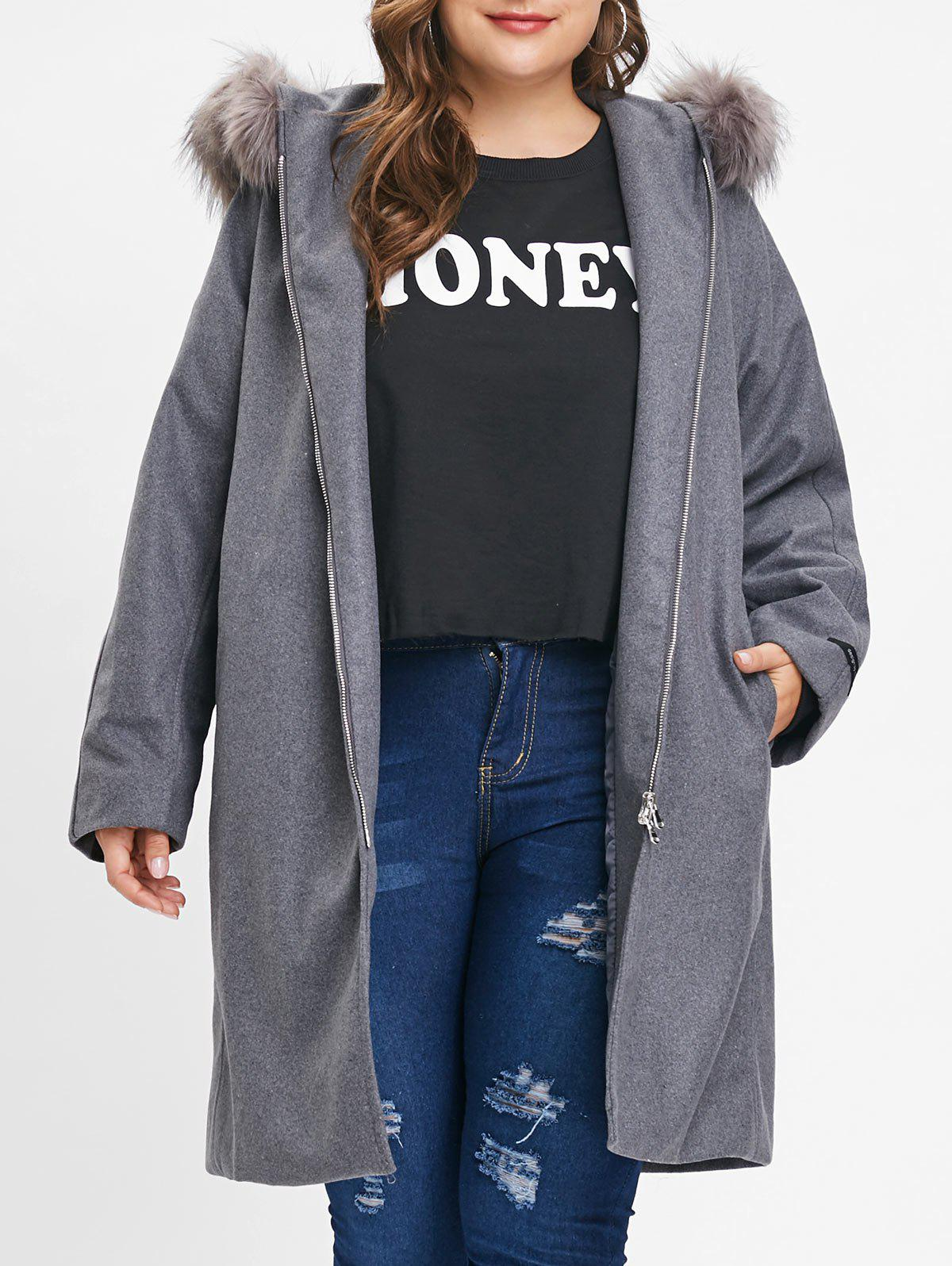 Affordable Plus Size Faux Fur Hooded Coat