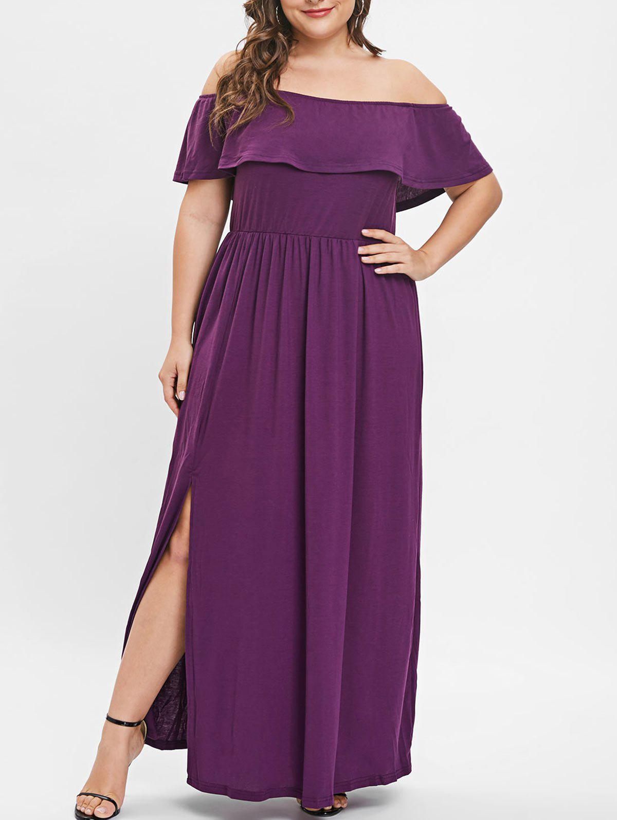 45% OFF] Plus Size Off The Shoulder Maxi Dress | Rosegal