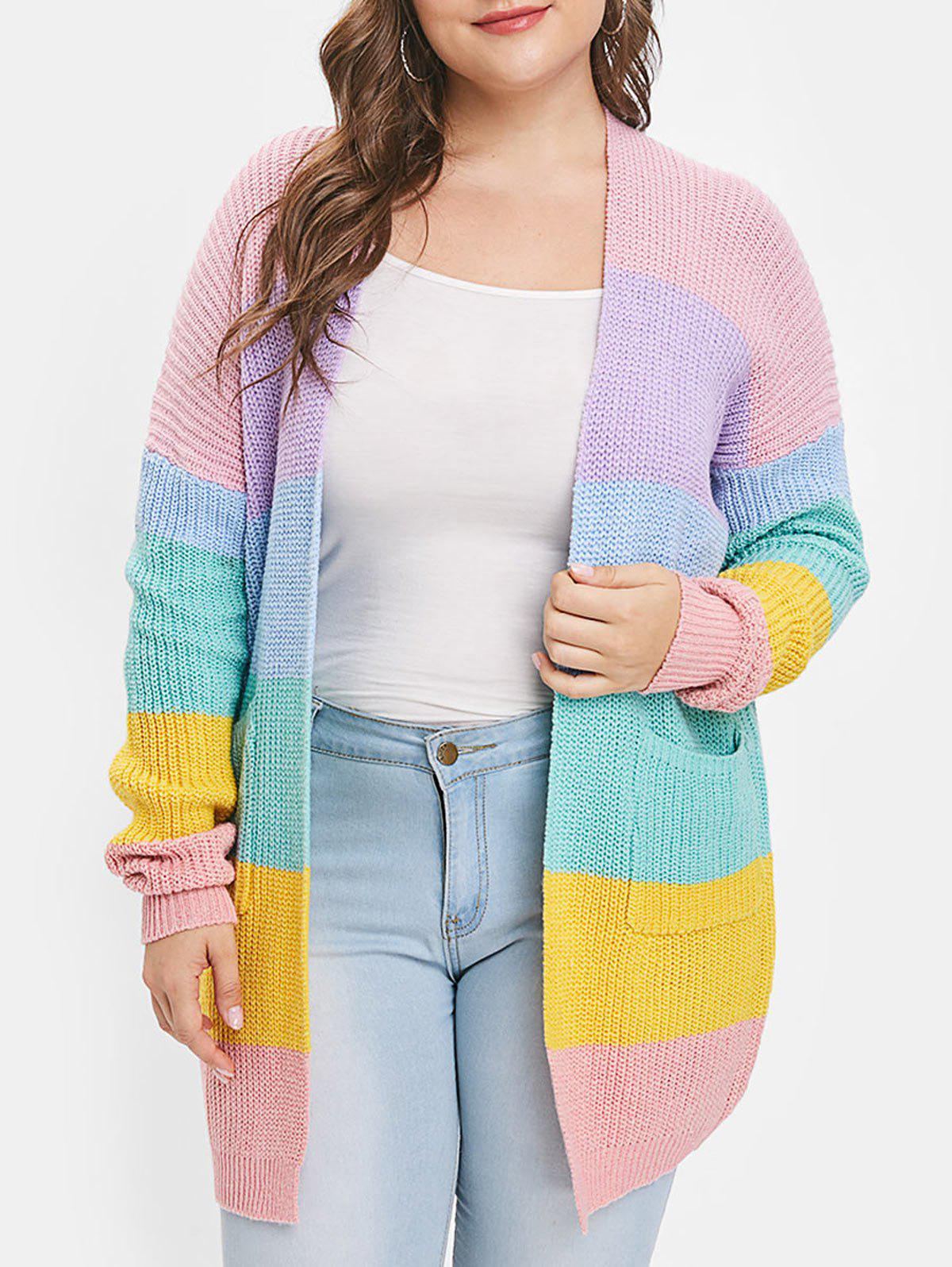 Fancy Color Block Drop Shoulder Plus Size Cardigan