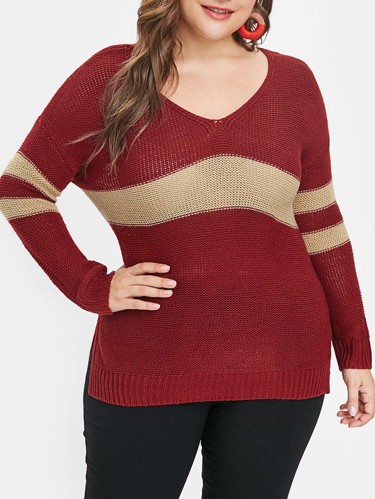 Cheap Side Slit Plus Size Striped Panel Sweater