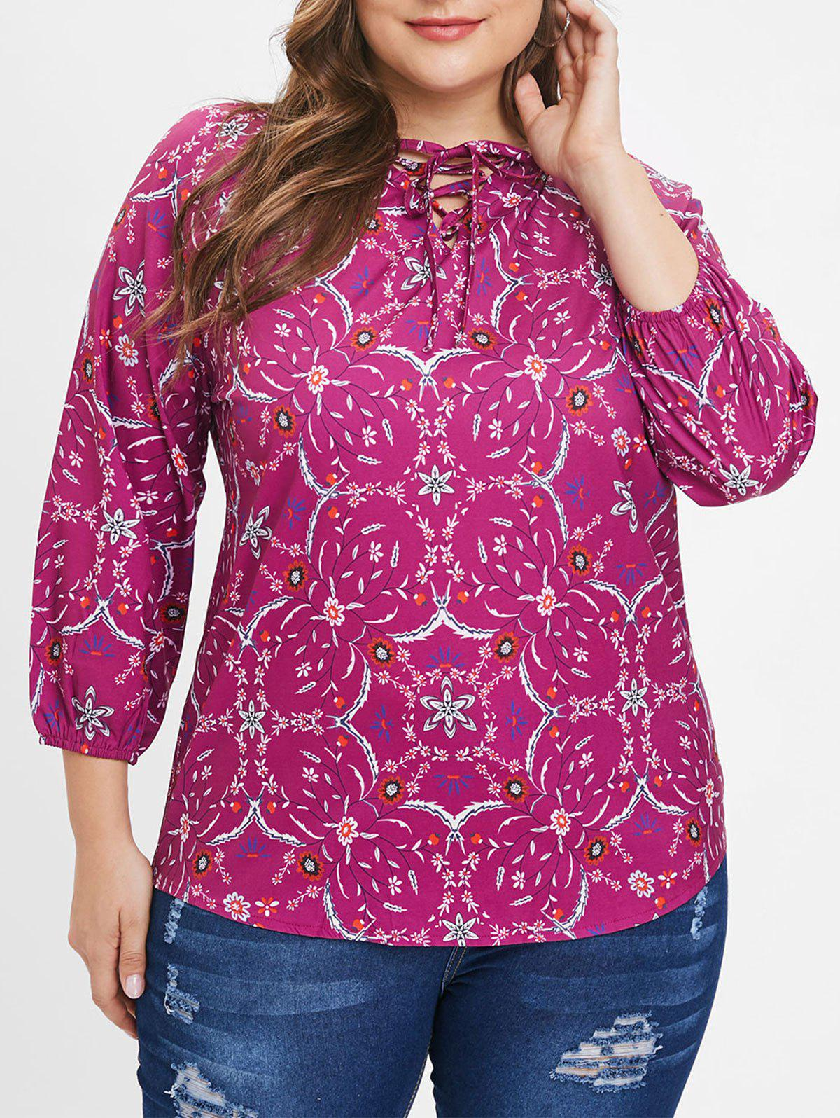 Chic Plus Size Raglan Sleeves Floral Blouse with Lace Up