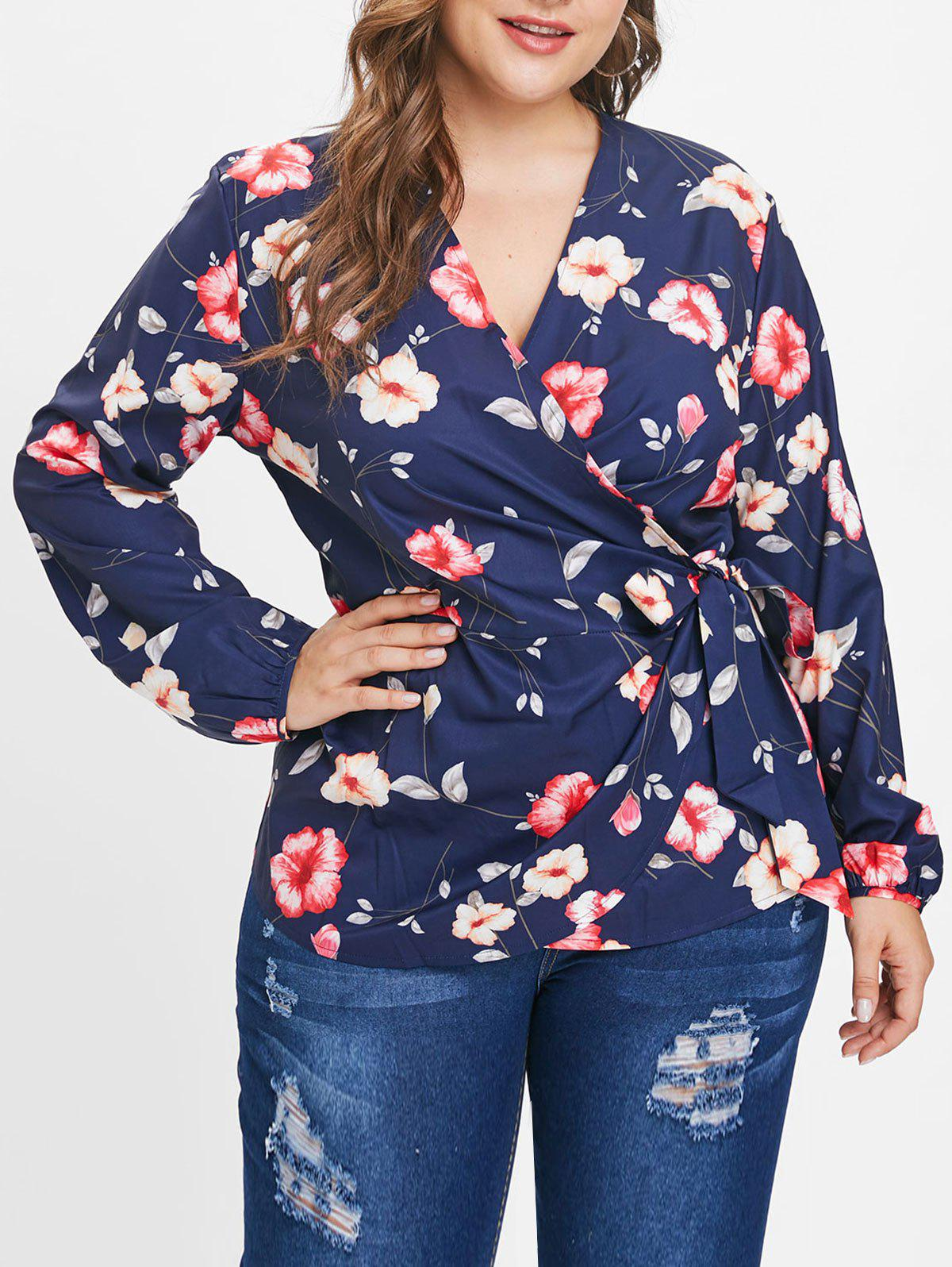 Latest Plus Size Long Sleeves Floral Wrap Top