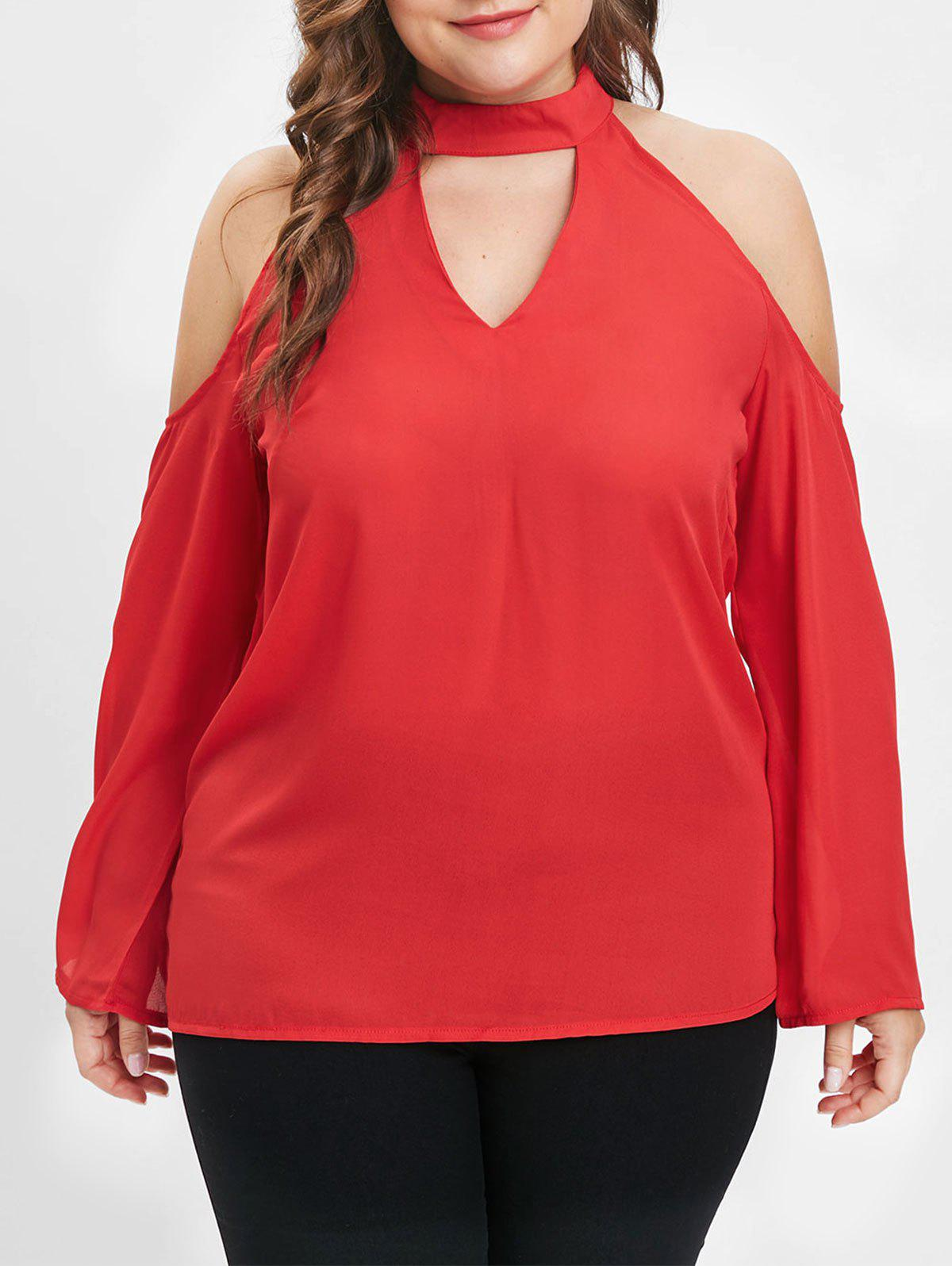 Online Plus Size Mock Neck Cold Shoulder Blouse with Cutout
