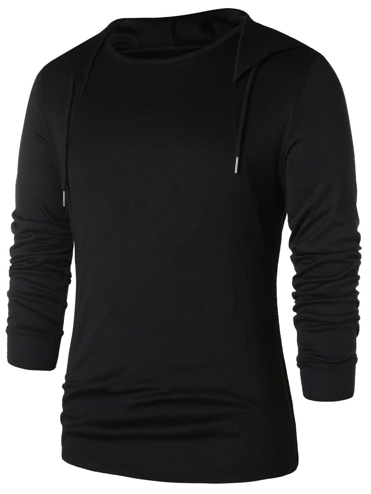 New Drawstring Solid Long Sleeve Hoodie