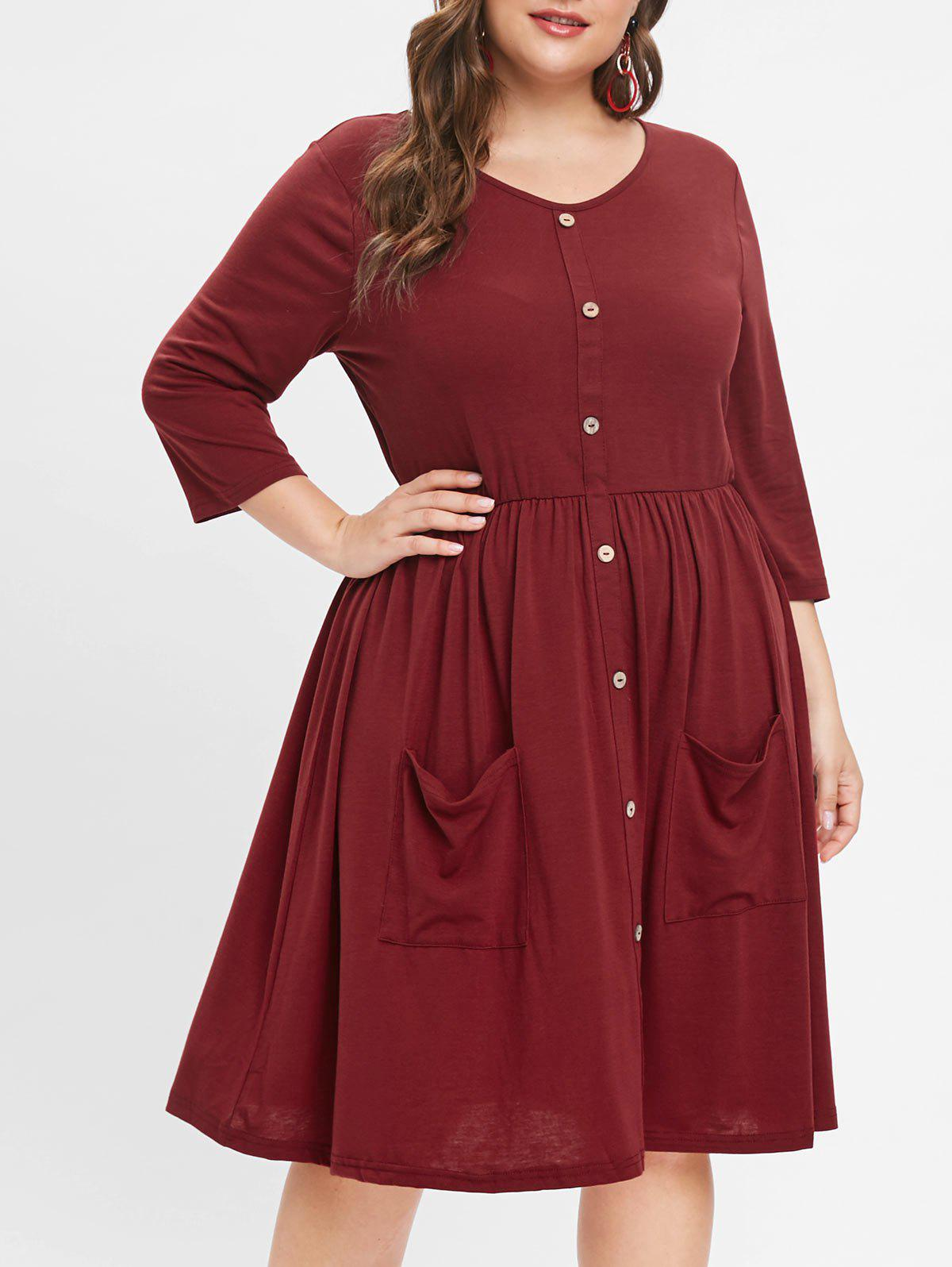 Latest Front Pockets Plus Size Round Neck Dress