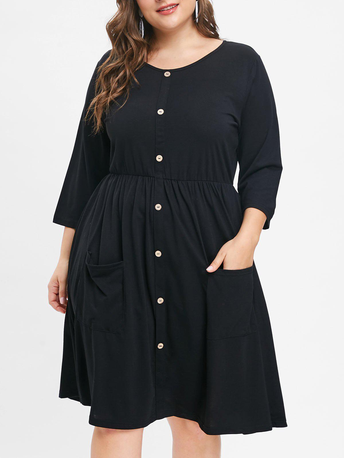 Trendy Front Pockets Plus Size Round Neck Dress