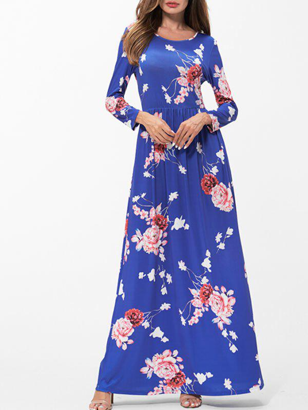 Buy Floral Print Pockets Maxi Dress