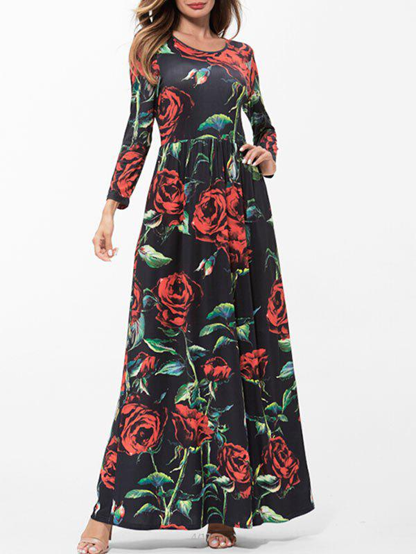 Trendy Floral Print Empire Waist Long Dress
