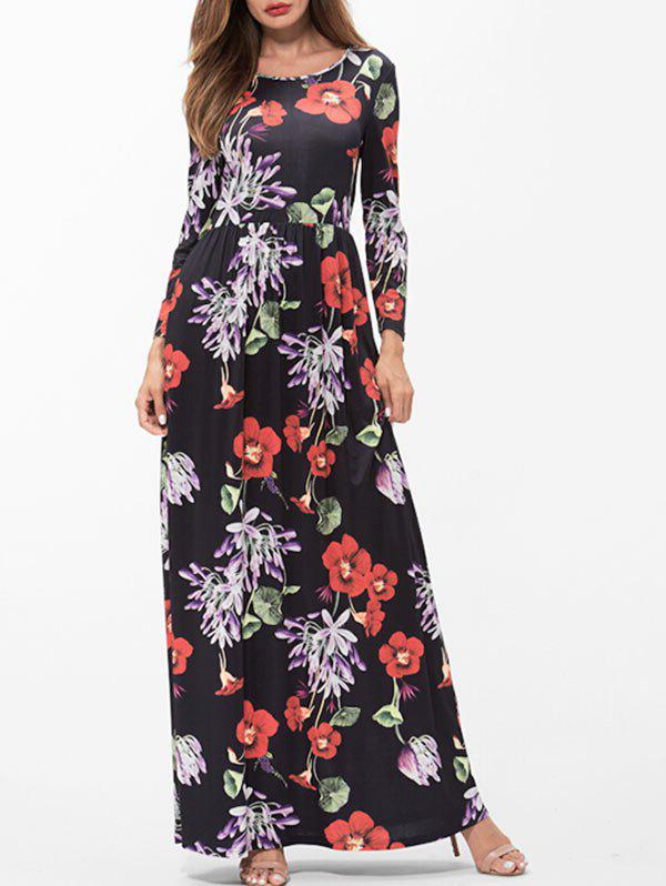 Cheap Floral Print Ruched Maxi Dress