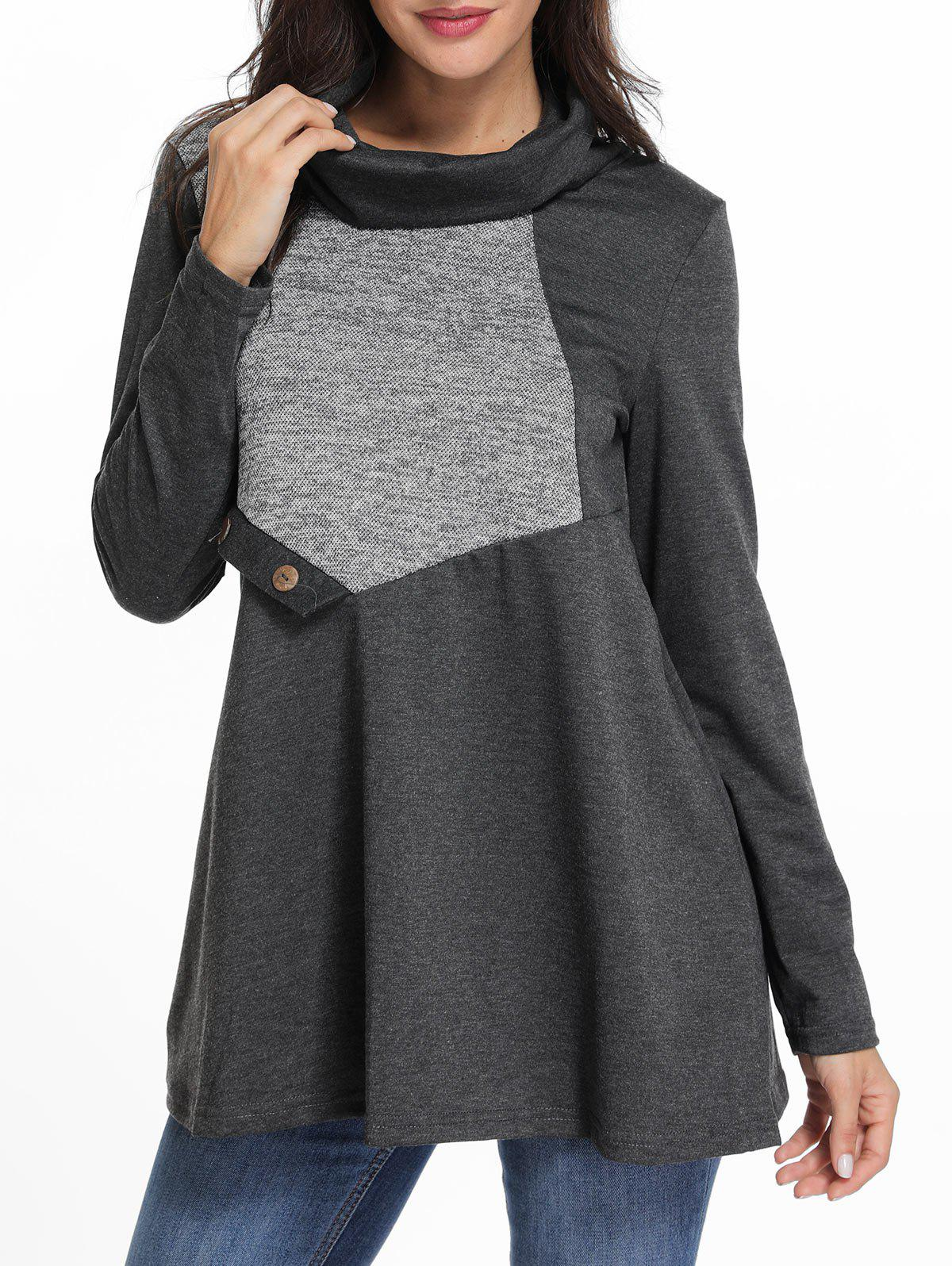 Chic Cowl Neck Contrast Tunic T Shirt