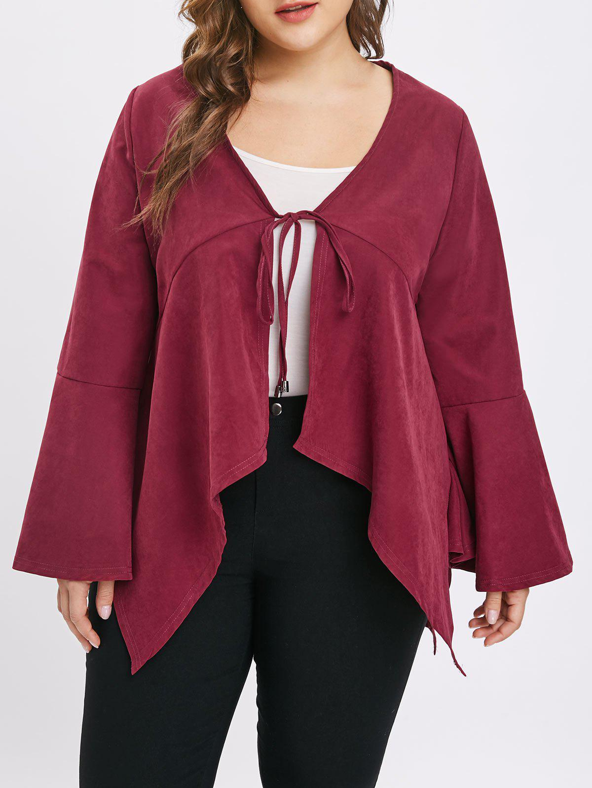 Outfits Plus Size Asymmetric Tie Coat with Flare Sleeves