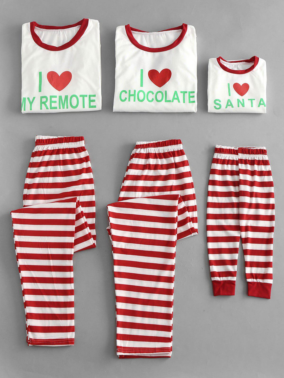 Outfit Letter and Striped Christmas Family Pajamas Sets