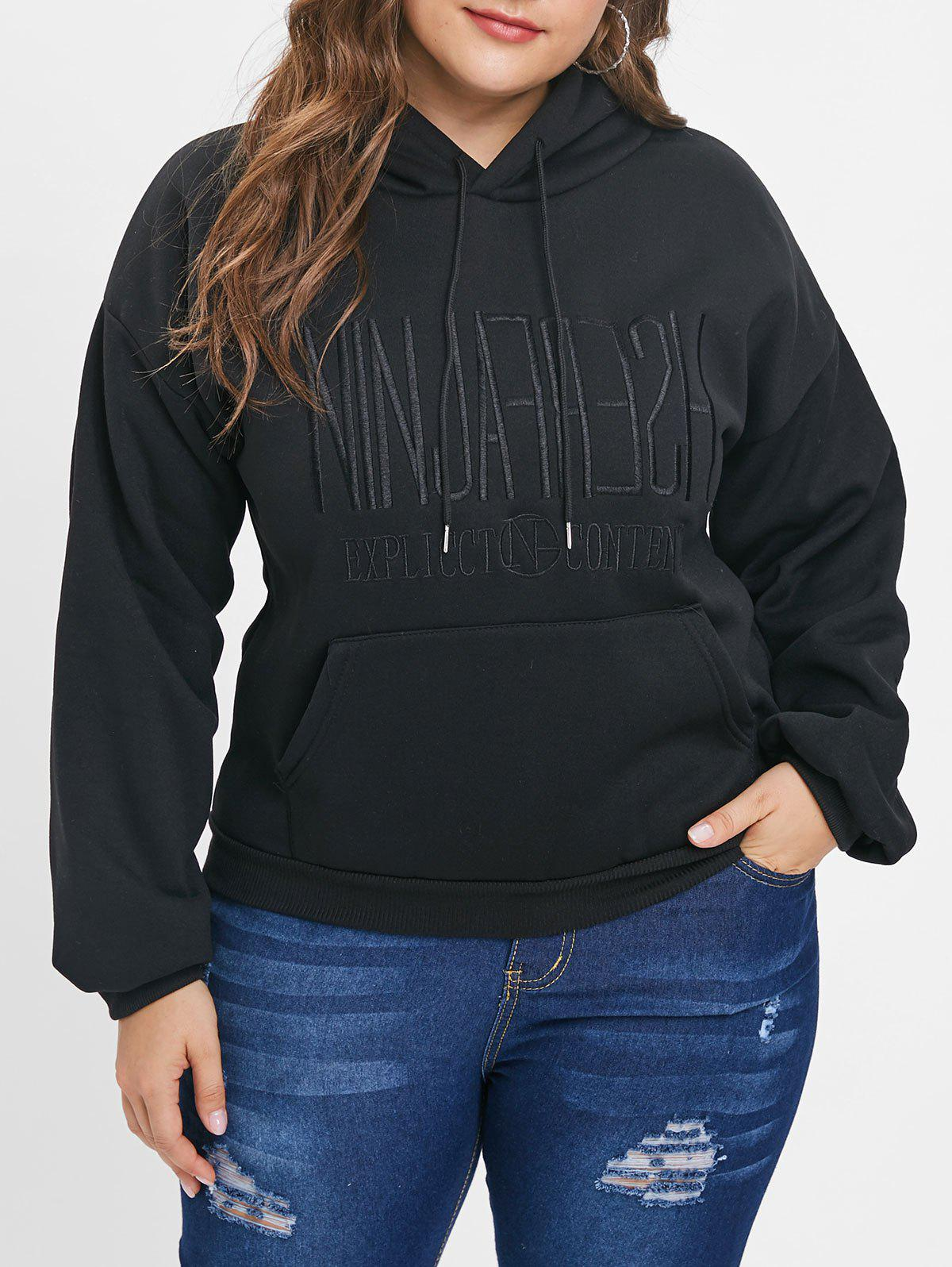 Trendy Plus Size Embroidery Letter Pullover Hoodie