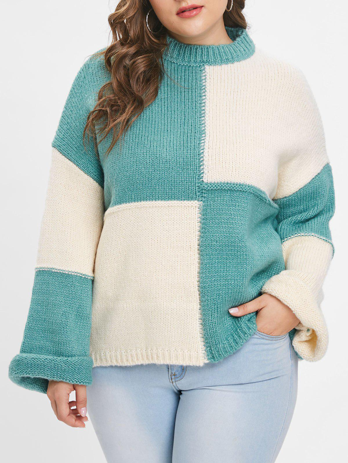 Online Plus Size Color Block Pullover Sweater
