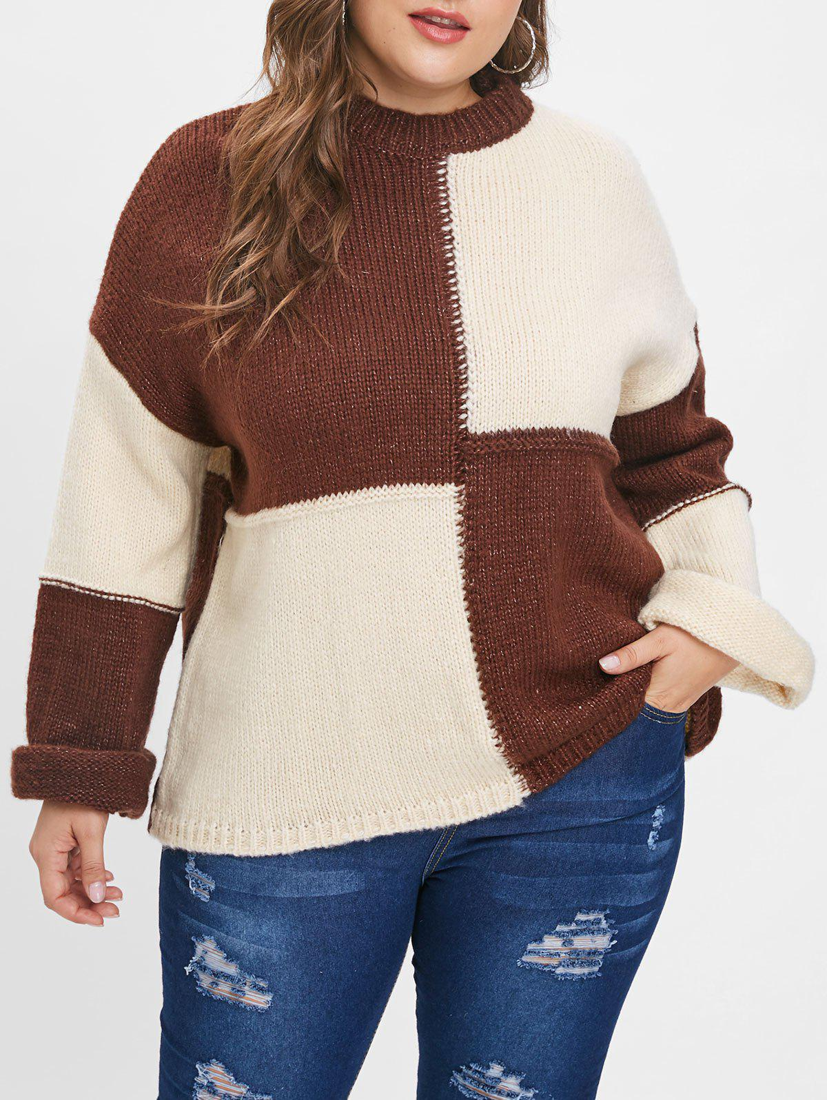 Sale Plus Size Color Block Pullover Sweater