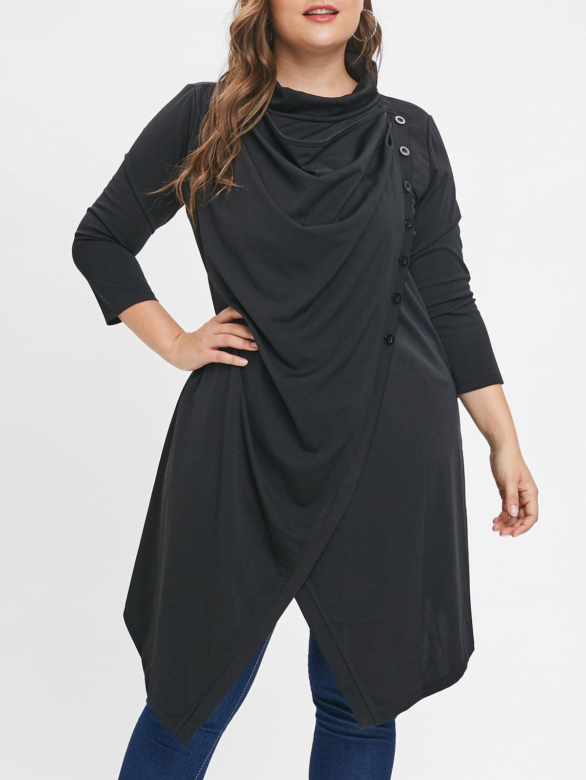Outfit Button Embellished Plus Size Cowl Neck Coat