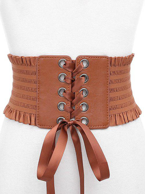 Cheap Bowknot Fringed PU Leather Wide Belt