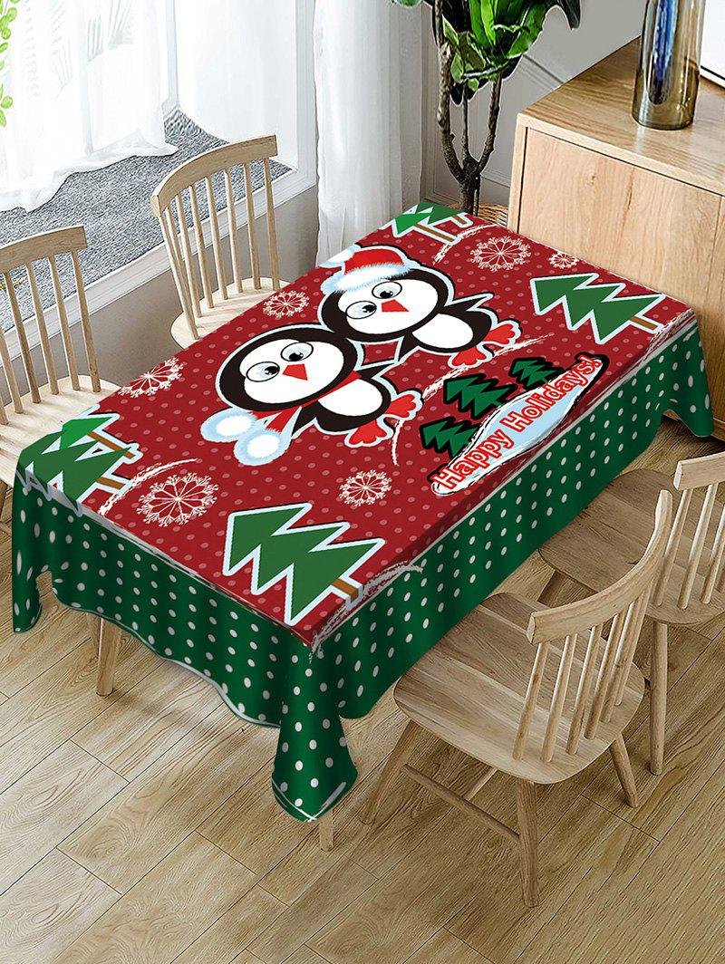 Unique Christmas Tree Penguin Fabric Waterproof Table Cloth