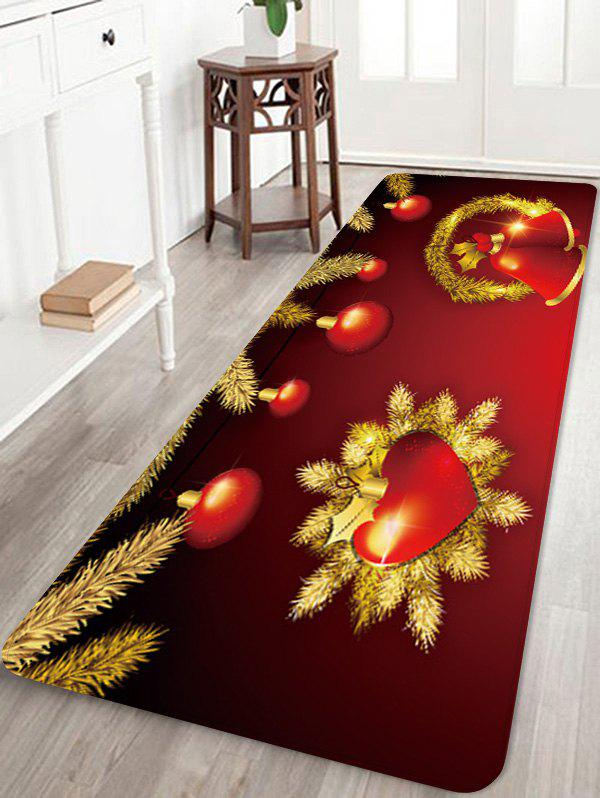 Fancy Christmas Heart Bells Pattern Water Absorption Area Rug