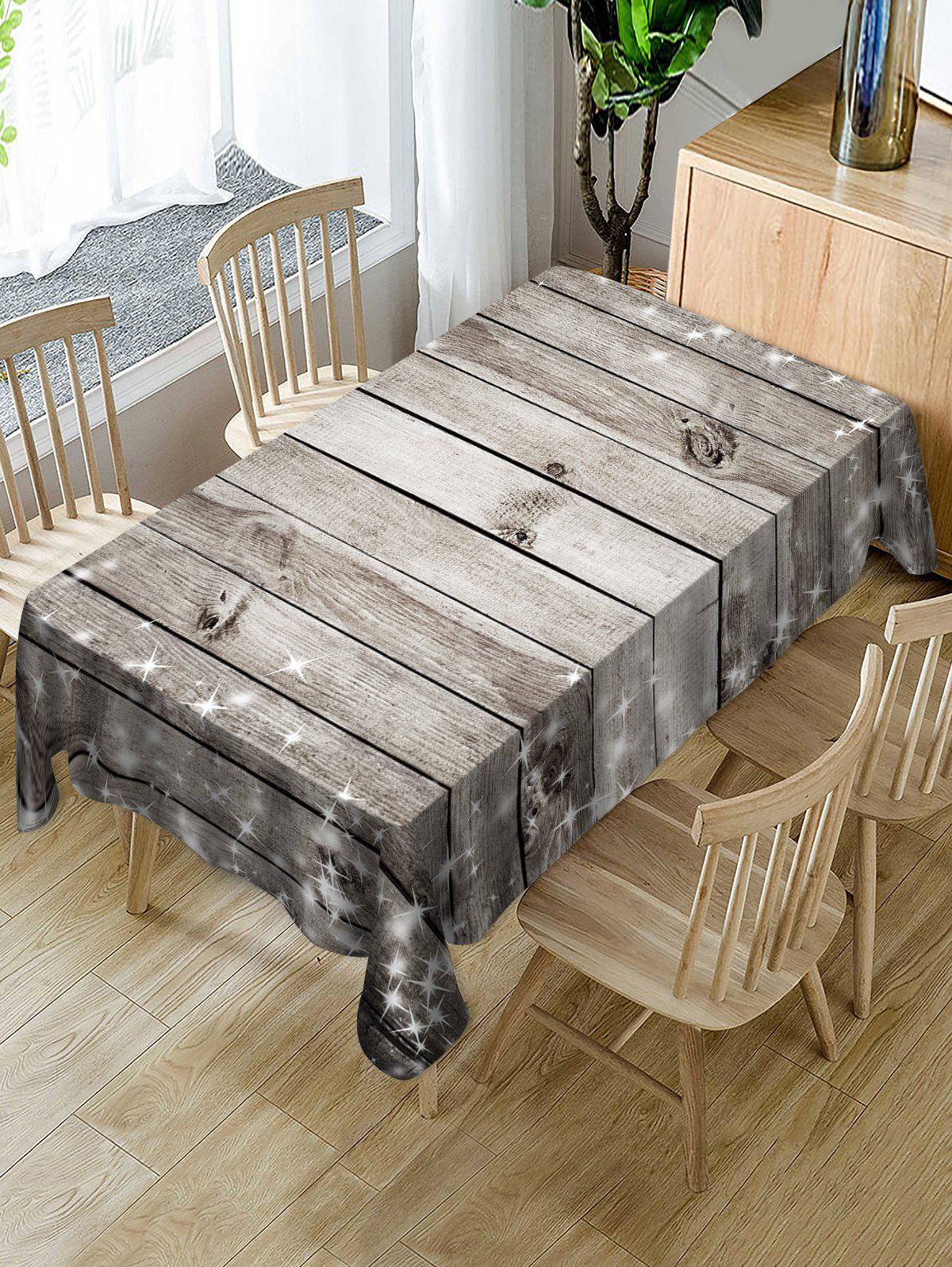 Trendy Christmas Wooden Fabric Waterproof Table Cloth