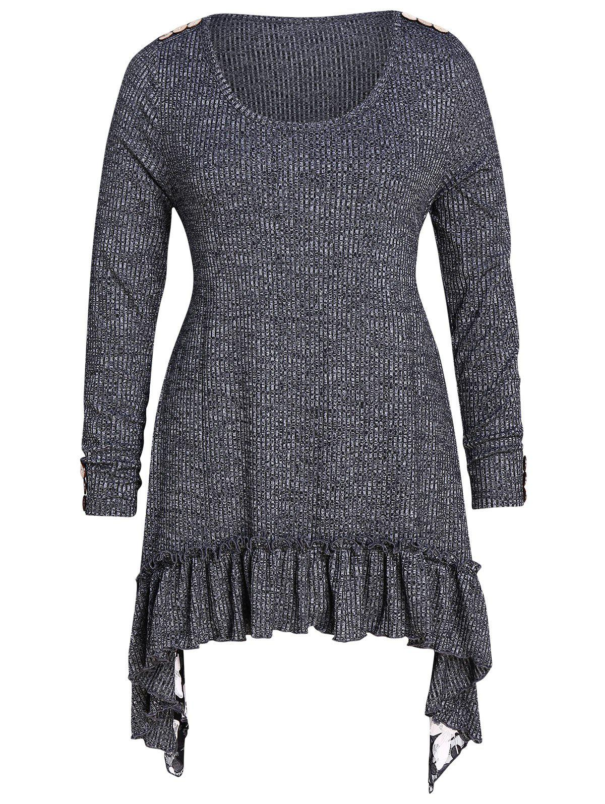 Discount Asymmetrical Flounced Space Dyed Plus Size Knitwear